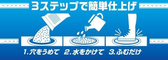 1. 穴を埋めて<br>2. 水をかけて<br>3. 踏むだけ